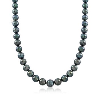 "Mikimoto 8.1-10.9mm A+ Black South Sea Pearl Necklace With 18kt White Gold and Diamond Accent. 17.75"", , default"