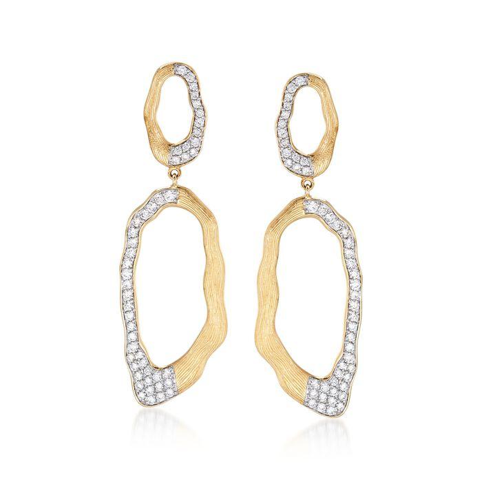 1.50 ct. t.w. Diamond Free-Form Open Oval Drop Earrings in 14kt Yellow Gold