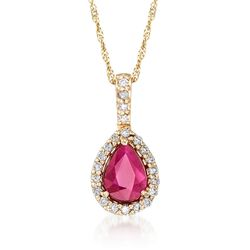 1.40 Carat Ruby and .15 ct. t.w. Diamond Pendant Necklace in 14kt Yellow Gold, , default