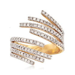 1.00 ct. t.w. Diamond Wrap Ring in 18kt Gold Over Sterling, , default