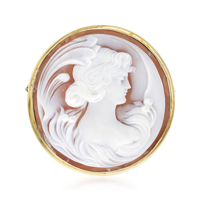 C. 1960 Vintage Pink Shell Cameo Pin/Pendant in 14kt Yellow Gold