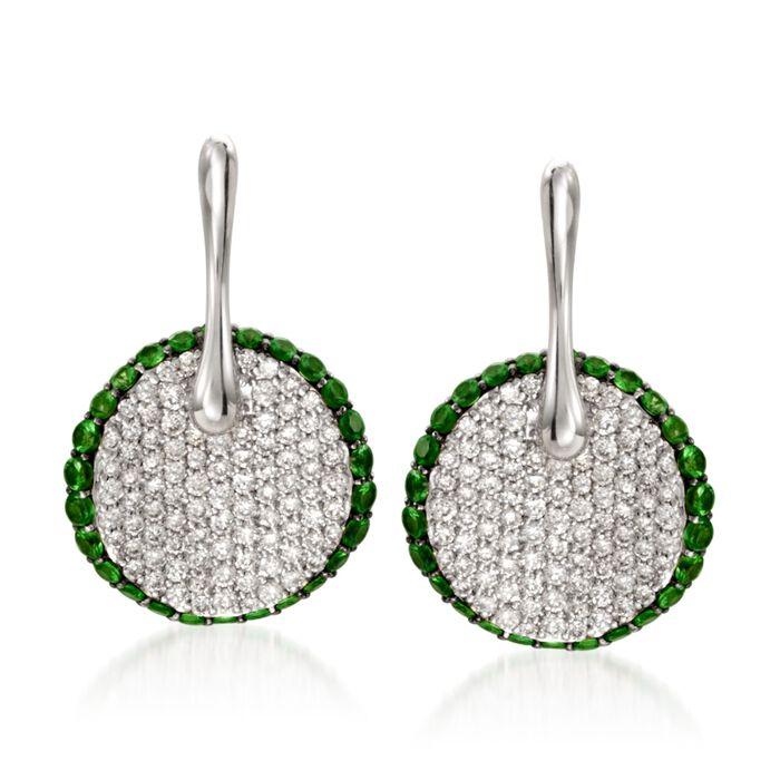 Simon G. .78 ct. t.w. Tsavorite and .64 ct. t.w. Diamond Drop Earrings in 18kt White Gold