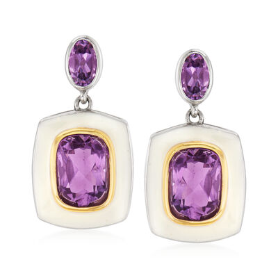 3.40 ct. t.w. Amethyst and White Enamel Drop Earrings in Sterling Silver with 14kt Yellow Gold