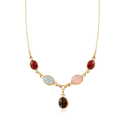 C. 1970 Vintage Multi-Gem Scarab Necklace in 14kt Yellow Gold