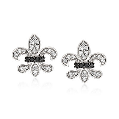 .25 ct. t.w. Black and White Diamond Fleur-De-Lis Earrings in Sterling Silver