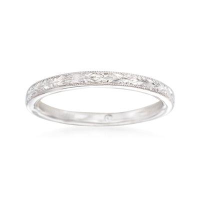 Gabriel Designs 14kt White Gold Engraved Wedding Ring, , default