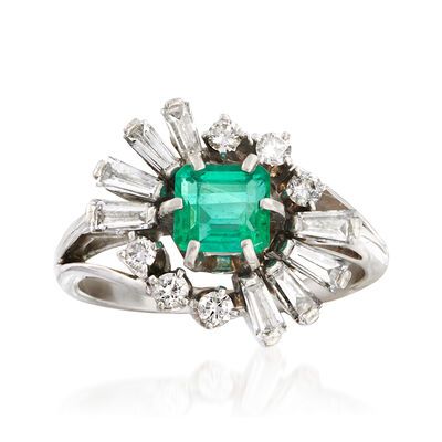 C. 1980 Vintage Jabel .60 Carat Emerald and 1.10 ct. t.w. Diamond Ring in 18kt White Gold, , default