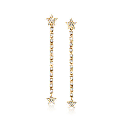 .52 ct. t.w. Star Post Diamond Drop Earrings in 14 kt Yellow Gold, , default