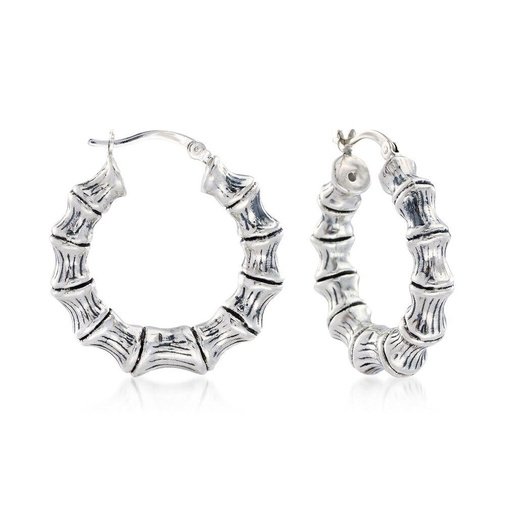Sterling Silver Small Bamboo Hoop Earrings 1 8 Default