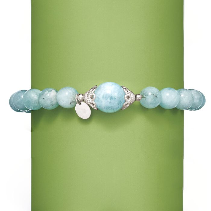90.00 ct. t.w. Milky Aquamarine Beaded Stretch Bracelet with Sterling Silver