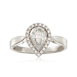 C. 1980 Vintage .57 ct. t.w. Pear-Shaped Diamond Halo Ring in 18kt White Gold , , default