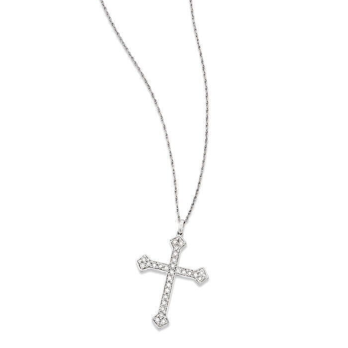 .25 ct. t.w. Diamond Cross Pendant Necklace in Sterling Silver