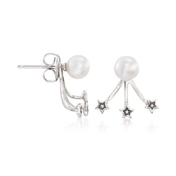 6mm Cultured Pearl and Diamond Accent Jewelry Set: Earrings and Front-Back Jackets in 14kt White Gold, , default