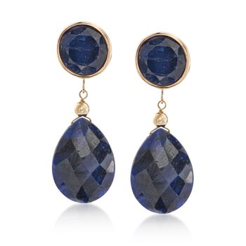 Blue Corundum Double Drop Earrings in 14kt Yellow Gold, , default