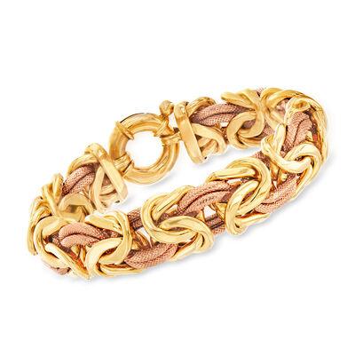 C. 1990 Vintage 18kt Two-Tone Gold Byzantine Bracelet, , default