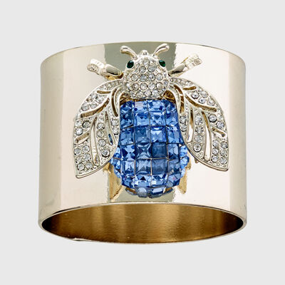 Joanna Buchanan Set of 2 Blue Sparkle Bee Napkin Rings, , default