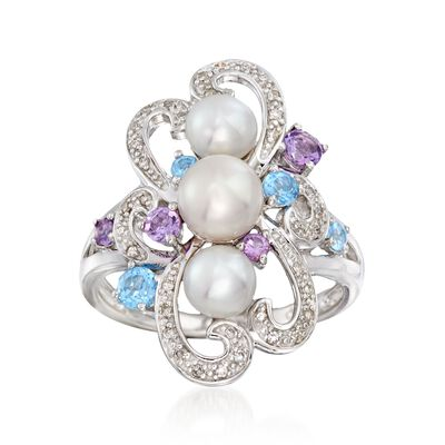 5-6.5mm Cultured Pearl and .50 ct. t.w. Multi-Stone Swirl Ring in Sterling Silver, , default
