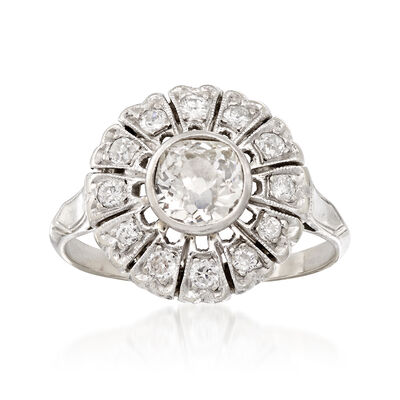 C. 1950 Vintage .90 ct. t.w. Diamond Flower Ring in 14kt White Gold, , default