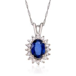1.00 Carat Sapphire and .25 ct. t.w. Diamond Pendant Necklace in 14kt White Gold, , default