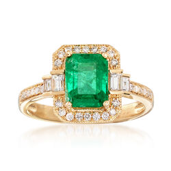 1.70 Carat Emerald and .35 ct. t.w. Diamond Ring in 18kt Yellow Gold, , default