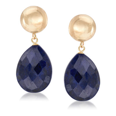 20.00 ct. t.w. Sapphire Drop Earrings in 14kt Yellow Gold, , default