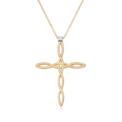 "Roberto Coin ""Barocco"" 18kt Yellow Gold Braided Cross Pendant Necklace with Diamond Accent, , default"