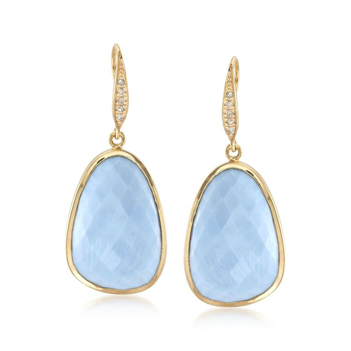 Blue Opal and .10 ct. t.w. Diamond Earrings in 18kt Yellow Gold Over Sterling Silver