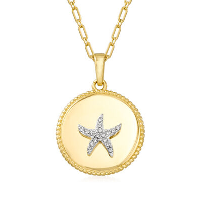 .10 ct. t.w. White Topaz Starfish Pendant Necklace in 18kt Gold Over Sterling