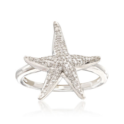 .13 ct. t.w. Diamond Starfish Ring in Sterling Silver, , default