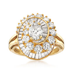 C. 1980 Vintage 3.75 ct. t.w. Diamond Swirl Ring in 18kt Yellow Gold, , default
