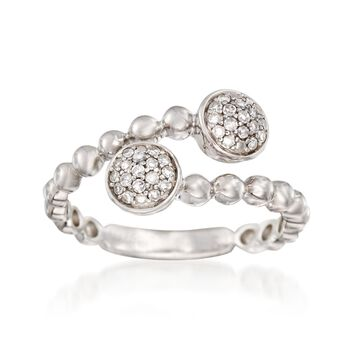 Sterling Silver Beaded Bypass Ring With Diamond Accents, , default