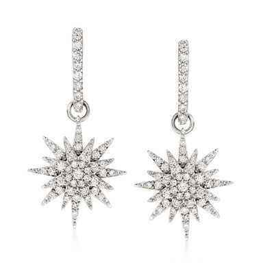.80 ct. t.w. Diamond Starburst Drop Earrings in 14kt White Gold, , default
