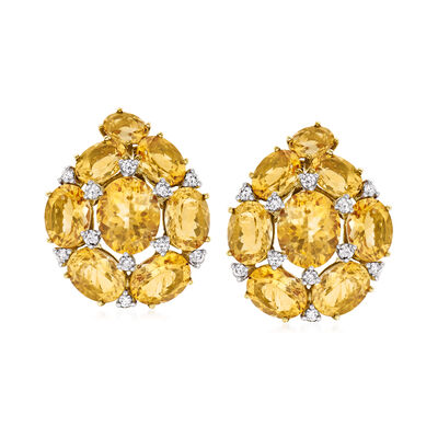 C. 1980 Vintage 26.00 ct. t.w. Citrine and .90 ct. t.w. Diamond Earrings in 18kt Two-Tone Gold
