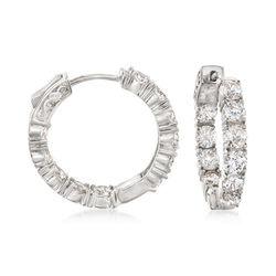 "5.00 ct. t.w. CZ Inside-Outside Hoop Earrings in Sterling Silver. 7/8"", , default"