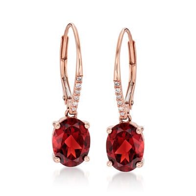 4.80 ct. t.w. Garnet Drop Earrings in 14kt Rose Gold, , default