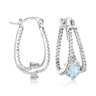 2.00 ct. t.w. Sky Blue Topaz and .80 ct. t.w. White Topaz Double-Hoop Earrings in Sterling Silver