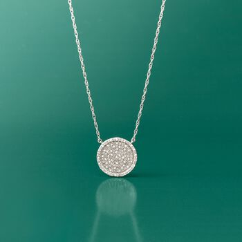 """.50 ct. t.w. Pave Diamond Circle Necklace in Sterling Silver. 20"""", , default"""