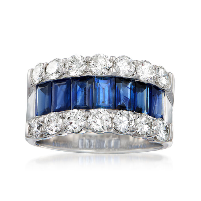 C. 1990 Vintage 2.45 ct. t.w. Sapphire and 2.00 ct. t.w. Diamond Ring in 14kt White Gold. Size 7, , default
