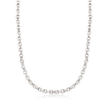 Sterling Silver Ridged Oval-Link Necklace, , default