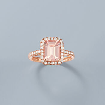 1.90 Carat Morganite and .38 ct. t.w. Diamond Ring in 14kt Rose Gold, , default