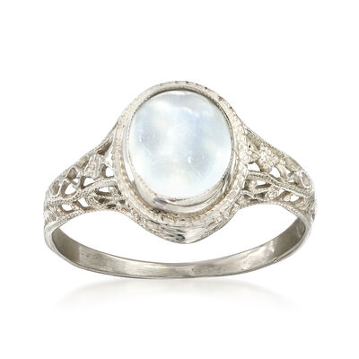 C. 1950 Vintage 10x7mm Moonstone Ring in 14kt White Gold, , default