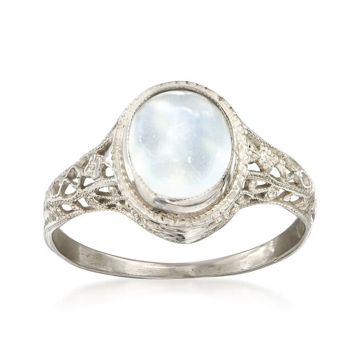 C. 1950 Vintage 10x7mm Moonstone Ring in 14kt White Gold. Size 6
