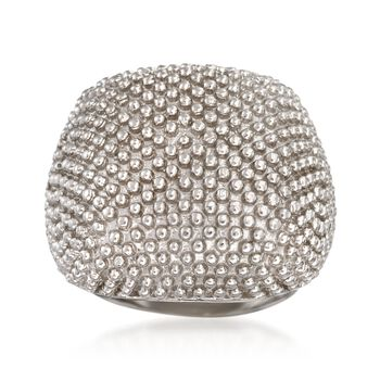 Italian Sterling Silver Beaded Dome Ring, , default