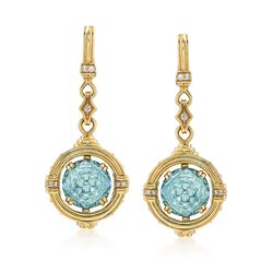 """Judith Ripka """"Marisol"""" 9.08 ct. t.w. Blue Topaz and .21 ct. t.w. Diamond Drop Earrings With Sapphire Accents in 18kt Gold , , default"""