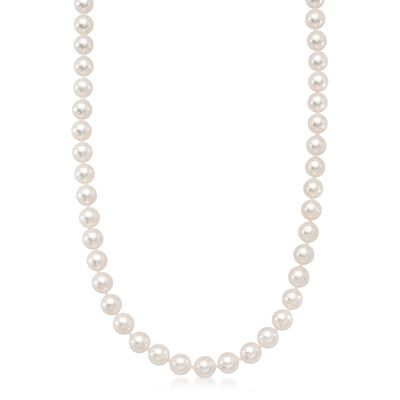 6.5-7mm Premier Akoya Pearl Necklace With 18kt White Gold Diamond Clasp, , default