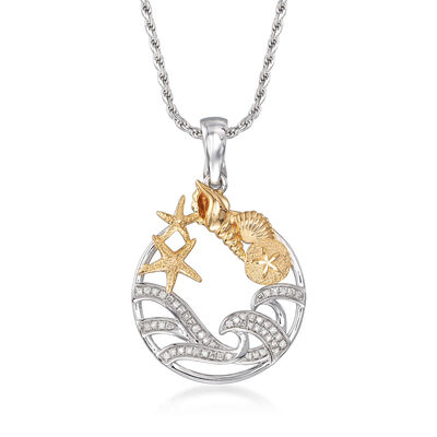 .15 ct. t.w. Diamond Sea Life Pendant Necklace in Sterling Silver and 18kt Gold Over Sterling, , default