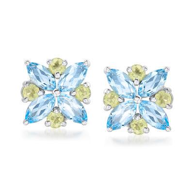 1.40 ct. t.w. Swiss Blue Topaz and .40 ct. t.w. Peridot Earrings in Sterling Silver