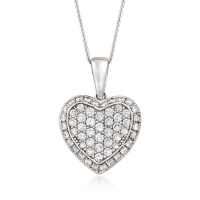 1.00 ct. t.w. Diamond Heart Pendant Necklace in 18kt White Gold