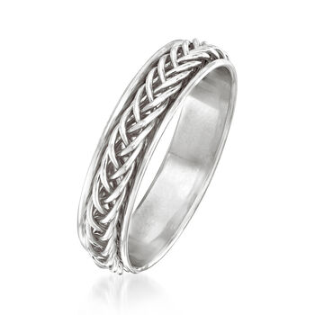 14kt White Gold Small Braided Band Ring