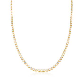 15.00 ct. t.w. Graduated CZ Tennis Necklace in 14kt Gold Over Sterling, , default